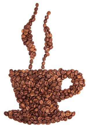 Roasted coffee bean on white background. Cup shape with coffee beans. 스톡 콘텐츠