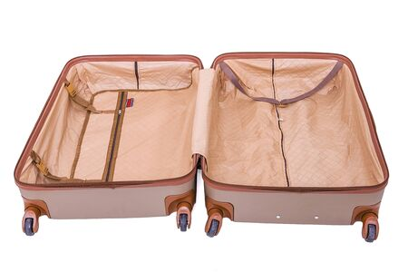 Big suitcase isolated over white background. Interior view of the suitcase. 版權商用圖片
