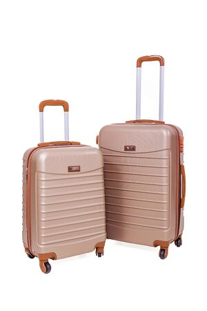 Two large polycarbonate suitcases.