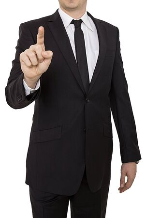 usiness man is showing something with his finger. Business, people and office concept.
