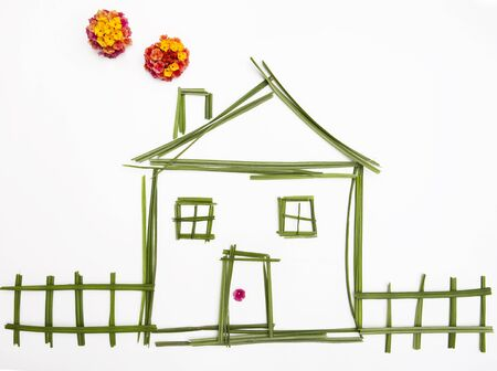 Real estate agent house model. Drawn house model.