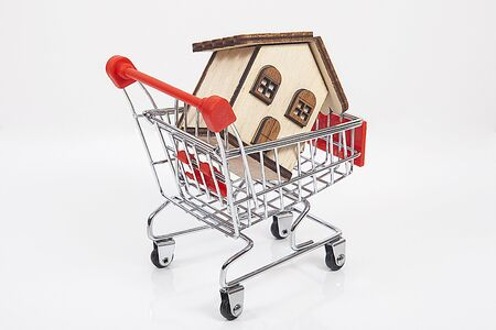 Real estate agent concept. House model inside shopping cart.