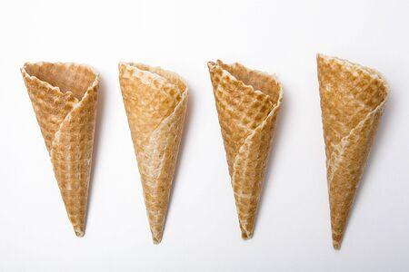 Empty ice cream cones isolated on white background.