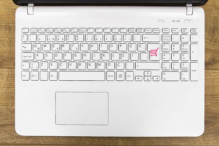 White keys on top of the keyboard. Internet shopping.