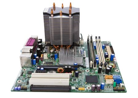 Micro motherboard with microprocessor. Computer parts.
