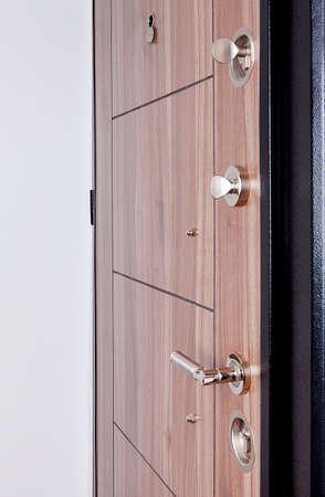 Wooden doors in the empty room.