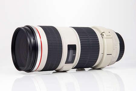 Photo camera lens isolated on white background.