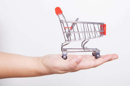Small toy shopping cart in the hands of the woman doing internet shopping. Internet shopping concept.