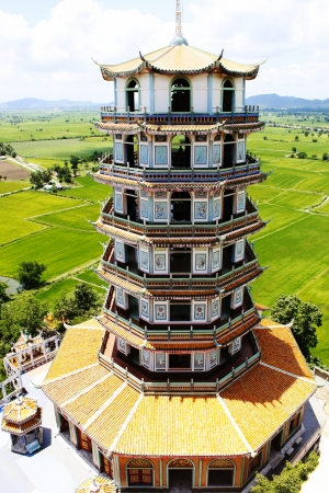The high pagoda in Wat Tham Sua, Kanchanaburi, Thailand photo