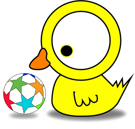 The yellow duck playing football Vector