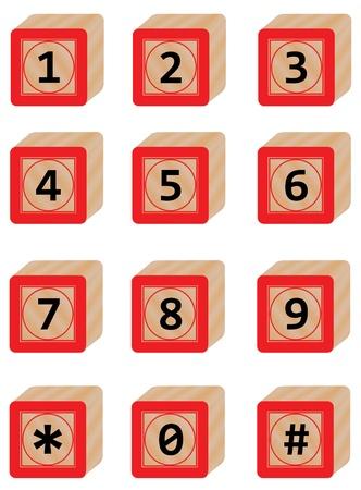 Number in Wood block Vector