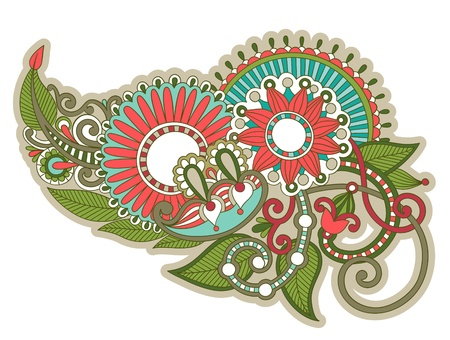 henna floral tattoo design, ornamental decorations Vector