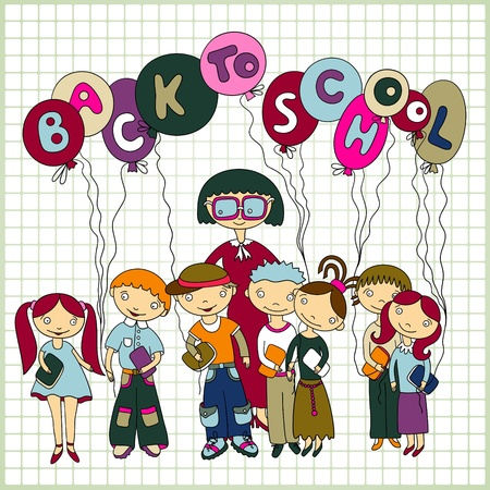 Group of schoolchildren and their teacher with balloons Stock Vector - 10798000