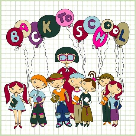 maestra preescolar: Grupo de escolares y sus maestros con globos