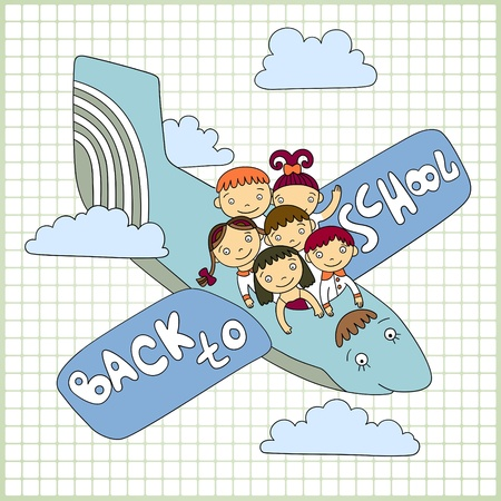Sketchy vector group of schoolchildren fly in an airplane