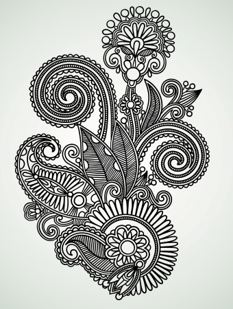 ukrainian: Hand draw line art ornate flower design