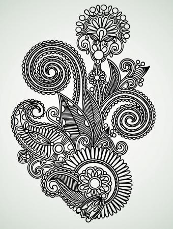 hindi: Hand draw line art ornate flower design