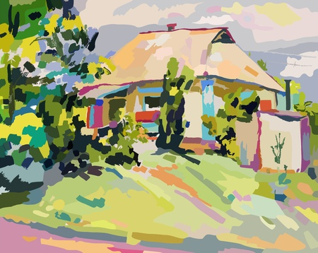 canvas painting: oil paintings of summer village  Illustration