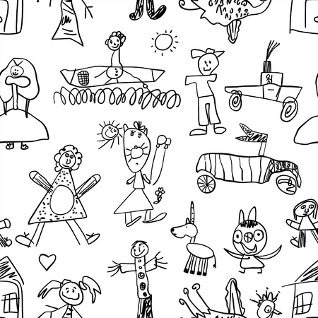 black baby boy: Kids drawing - seamless pattern