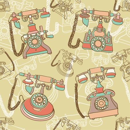 seamless pattern with retro telephone  Vector