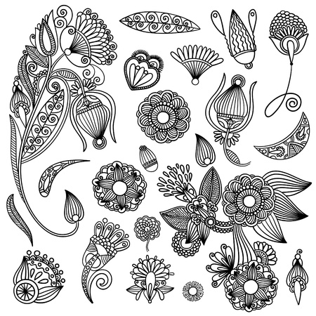 botanics: Set of black flower design