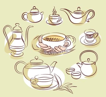 tarde de cafe: juego de té tiempo Vectores
