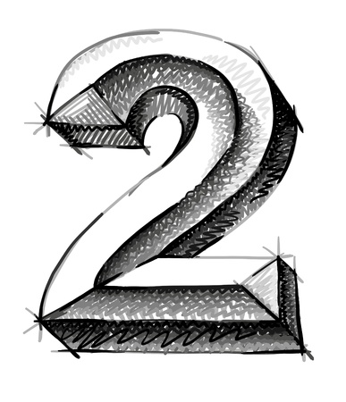 number two: sketch numerals, hand drawn number two  Illustration