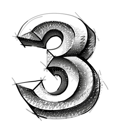 number three: sketch numerals, hand drawn number three
