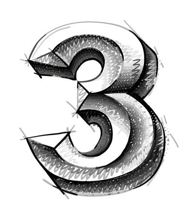 number three: sketch numerals, hand drawn number three