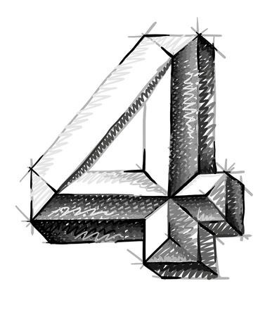 cijfer vier: schets cijfers, met de hand getekende nummer vier