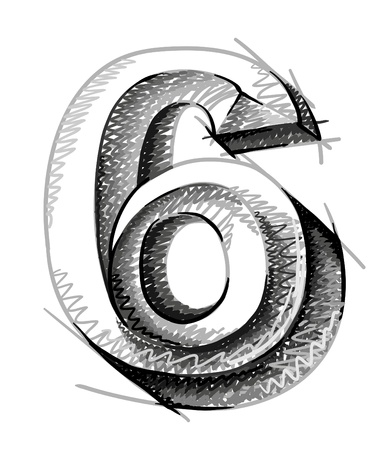 numerical: sketch numerals, hand drawn number six