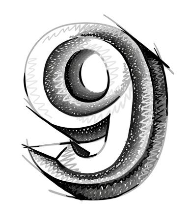 number nine: n�meros boceto, dibujado a mano el n�mero nueve