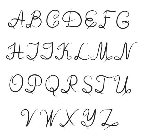 type lettering: Hand-written alphabet