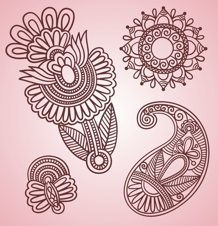 Hand-Drawn Henna Mehndi Tattoo Flowers and Paisley Doodle Vector Illustration Design Elements  Vector