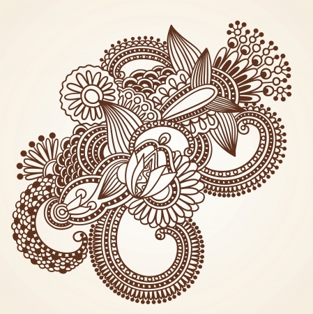 Hand-Drawn Abstract Henna Mehndi Flowers Doodle Vector Illustration Design Element  Vector