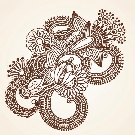 hindi: Hand-Drawn Henna Mehndi Estratto Fiori Doodle illustrazione vettoriale Design Element Vettoriali