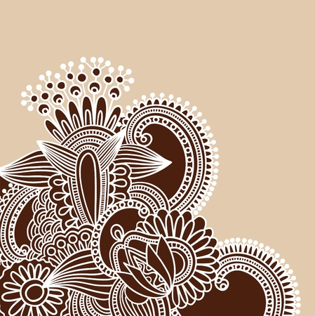 Hand-Drawn Abstract Henna Doodle Vector Illustration Design Element  Vector