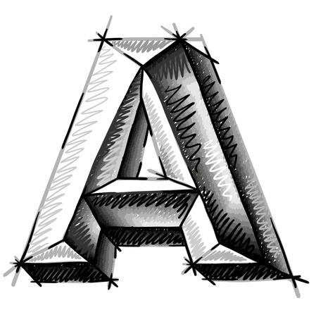 letras cromadas: mano de cartas dibujar croquis