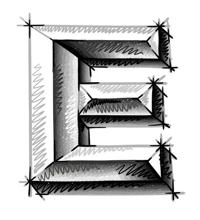 lettrage: lettres main � tirage croquis Illustration
