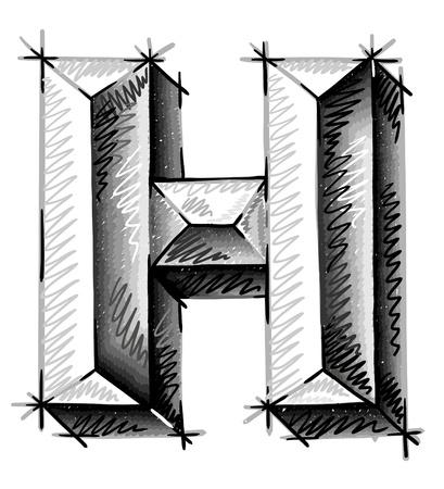 graffiti alphabet: hand draw sketch letters
