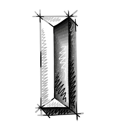 chrome alphabet: hand draw sketch letters