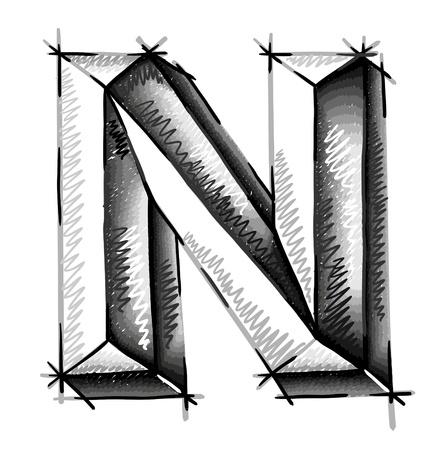chrome letters: mano de cartas dibujar croquis