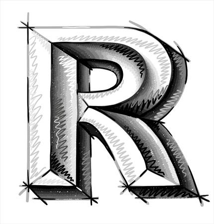sketch: De hand trekt schets letters