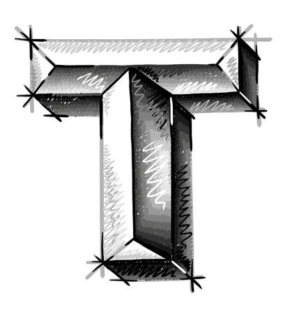 alphabet graffiti: de la mano las cartas de dibujo boceto