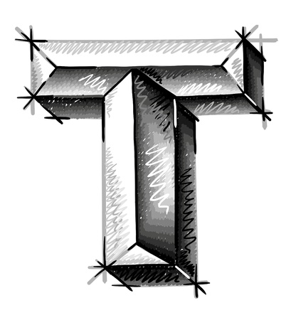 alphabet graffiti: lettres main � tirage croquis Illustration