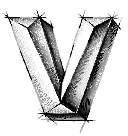 letras cromadas: de la mano las cartas de dibujo boceto