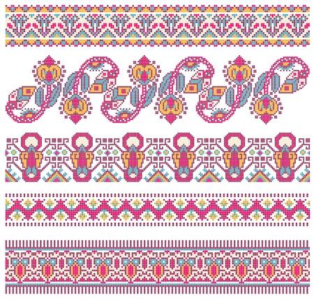 bordados hechos a mano como un buen punto de cruz patrones étnicos Ucrania Ilustración de vector
