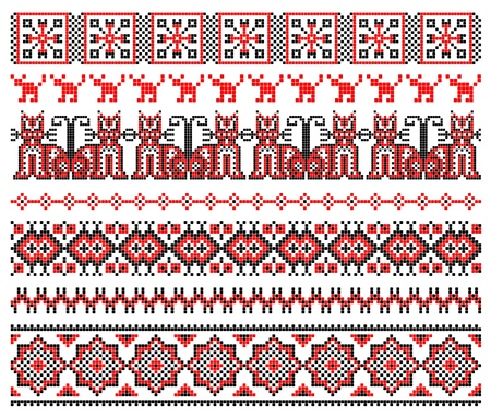 needlecraft: embroidered good like handmade cross-stitch ethnic Ukraine pattern