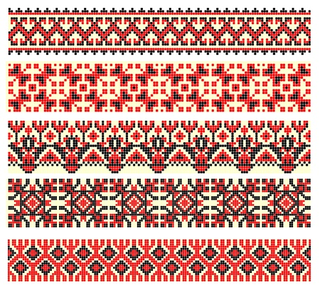 embroidered good like handmade cross-stitch ethnic Ukraine pattern  Stock Vector - 11189033