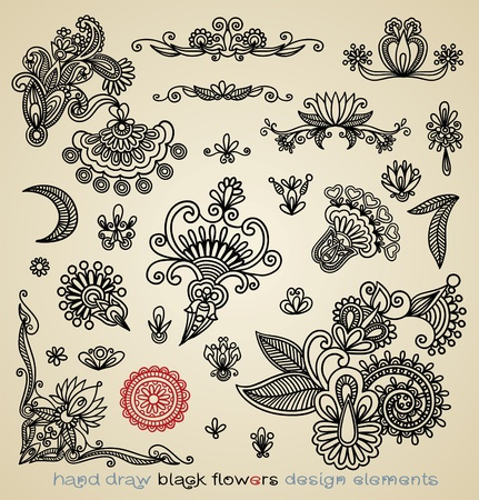 Set of black flower design  Vector